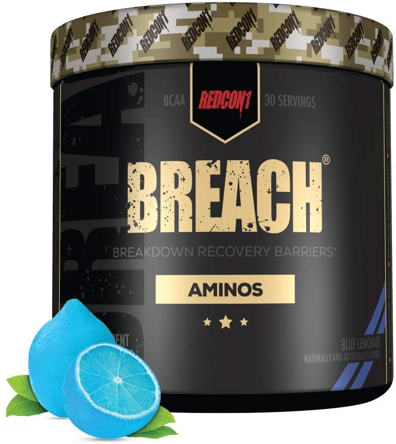 Redcon1 - Breach BCAAs (30 Servings) - Amino Acids, 2:1:1 BCAA Ratio, Increase Recovery, Caffeine Free, Strength and Endurance Support (Blue Lemonade)