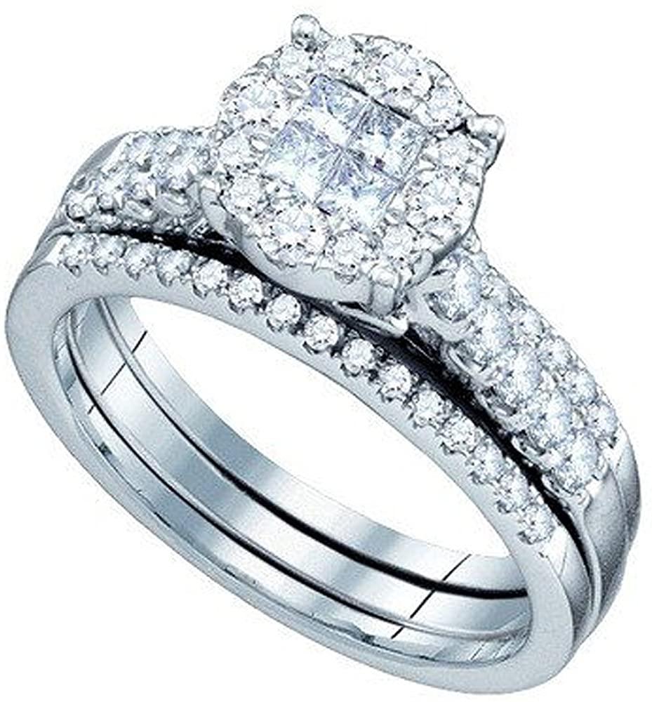 Dazzlingrock Collection 1.00 Carat (ctw) 14K Princess And Round White Diamond Ladies Soliel Engagement Ring Set 1 CT, White Gold