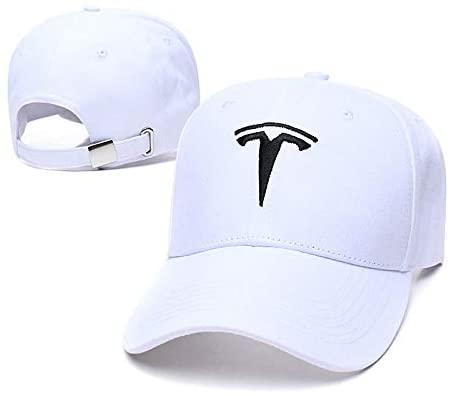 Yoursport Baseball Caps Embroidered Logo Adjustable Unisex Travel Hat for Tesla (White)