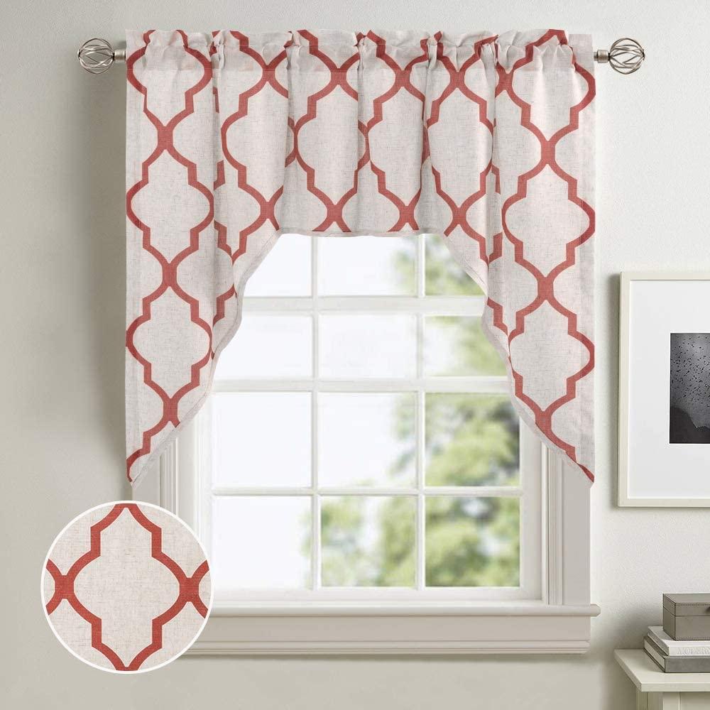 jinchan Valance Swag Moroccan Tile for Bedroom- Quatrefoil Flax Linen Blend Textured Geometry Lattice Print Window Treatment Set for Living Room 1 Panel 38
