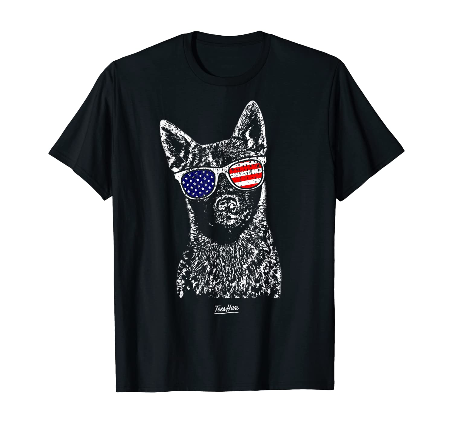 Cattle Dog With Glasses Blue Heeler T-Shirt