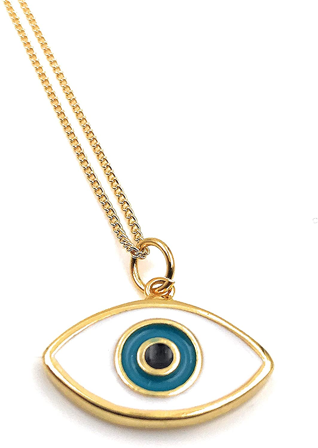 LESLIE BOULES Enamel Evil Eye Pendant Necklace for Women 18K Gold Plated Chain Novelty Jewelry