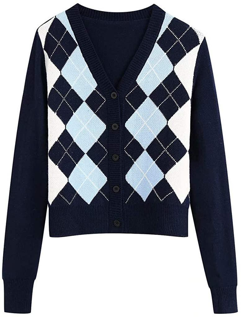 Women Sweater Blue Cardigan Argyle Pattern Long Sleeve England Style Sweater Tops