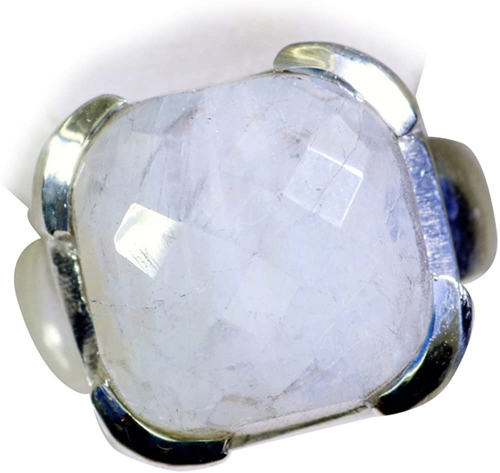 Gemsonclick Natural Rainbow Moonstone Silver Ring For Women Gift Cushion Shape Checker Cut Size 4,5,6,7,8,9,10,11,12