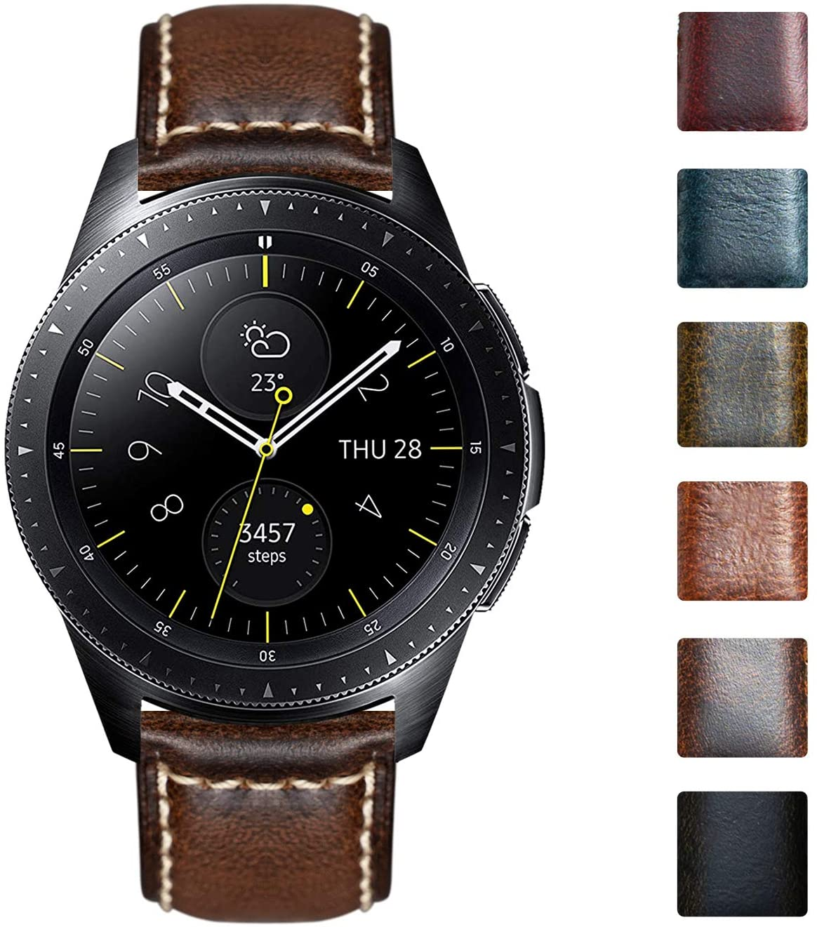 Watch Bands Compatible with Samsung Galaxy Watch 42mm/46mm,Active 2,Samsung Gear S3 Classic/Frontier Smartwatch Vintage Oil Wax Calfskin Leather Straps Replacement 20mm 22mm Wristband for Men Woman