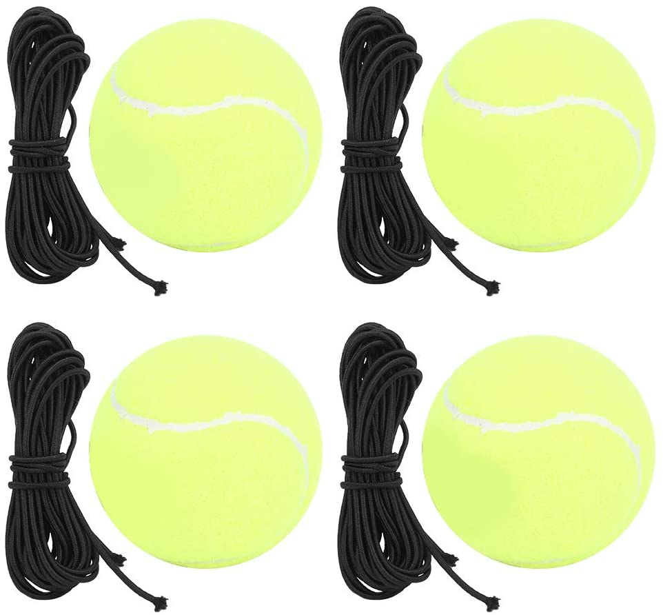 VGEBY 4Pcs/Set Tennis Trainer, High Elastic Tennis Ball with Rubber Band Tennis Ball Trainer Practice Training Tool for Sports Practice Training Belt Line