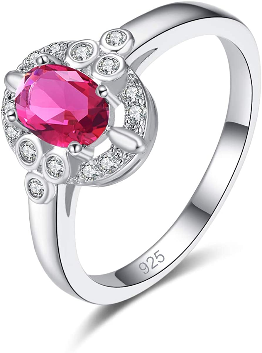 Emsione 925 Sterling Silver Plated Created Ruby Spinel Womens Ring Best Gift for Women Girls