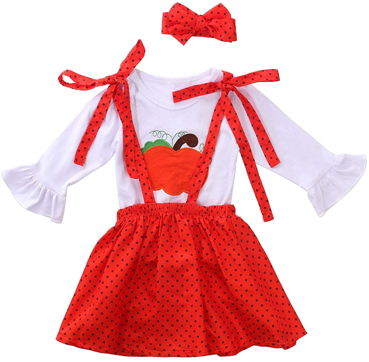Toddler Girl Halloween Thanksgiving Outfit Pumpkin Turkey Top Suspender Skirt Headband