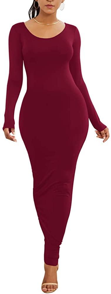 HOPES KINGDOM Womens Party Beach Vacation Solid Bodycon Long Maxi Dress