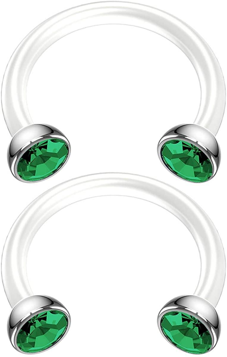 Bling Piercing 2pc 16g Bioflex Circular Horseshoe Earring Hoop CZ Crystal Balls 3/8 10mm Flexible Bioplast Plastic