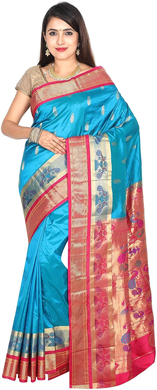 Indian Silks Women's Peacock Design Paithani Pure Silk Saree