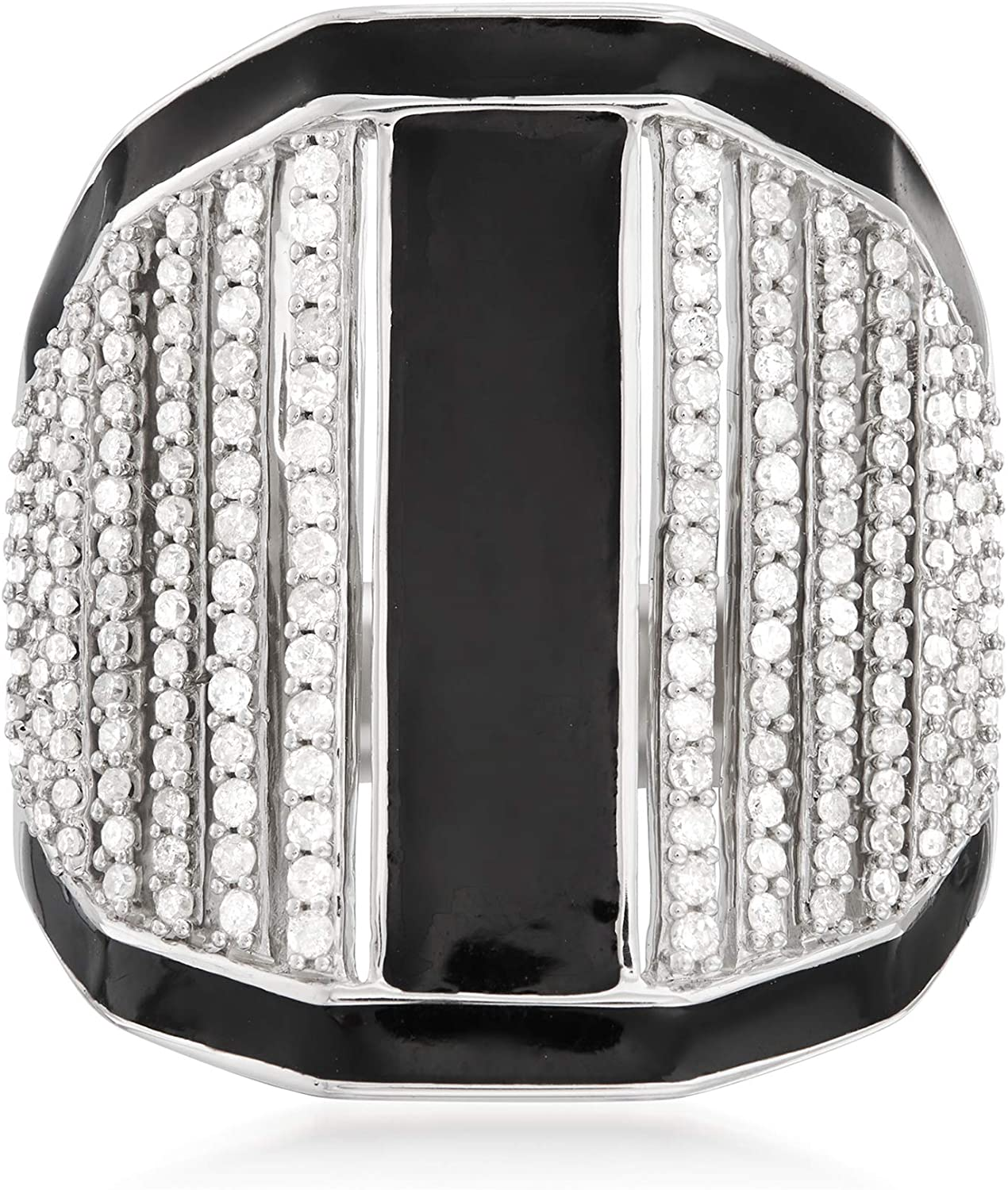 Ross-Simons 0.75 ct. t.w. Diamond and Black Enamel Linear Wide Ring in Sterling Silver