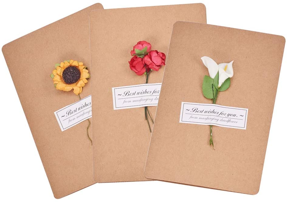 WANDIC Greeting Card, 12 Pcs Flowers Retro Kraft Paper Cards for Wedding, Graduation, Birthday, Mother's Day, Valentine and Christmas