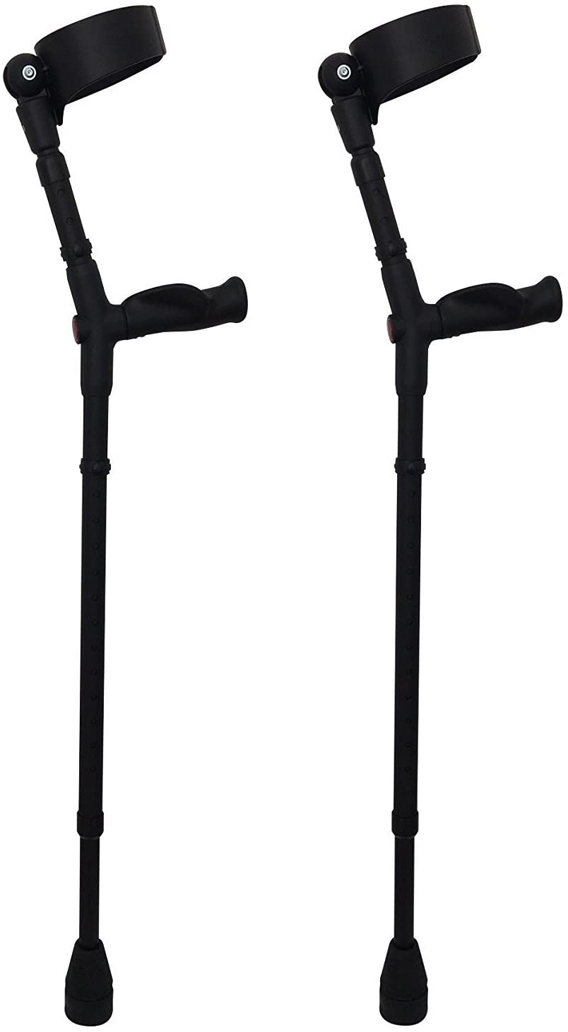 Thomas Fetterman Walk Easy 495 Adjustable Forearm Crutches (Adjustable with Tornado Gel Tip and Padded Leather Cuff Inserts)