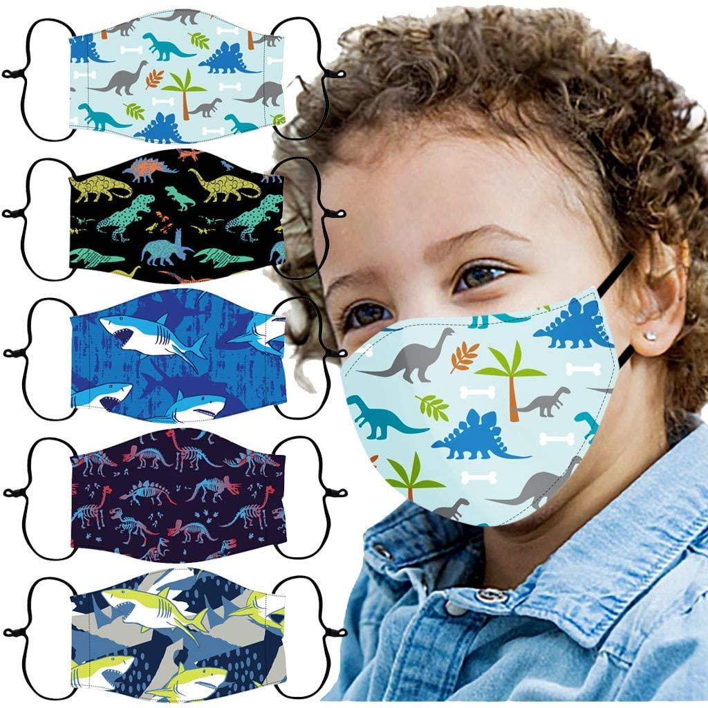 Childrens Cartoons Print Cotton Face Cloth Adjustable Windproof Mouth Shields Reusable Face Màsc Bandanas 5PCS