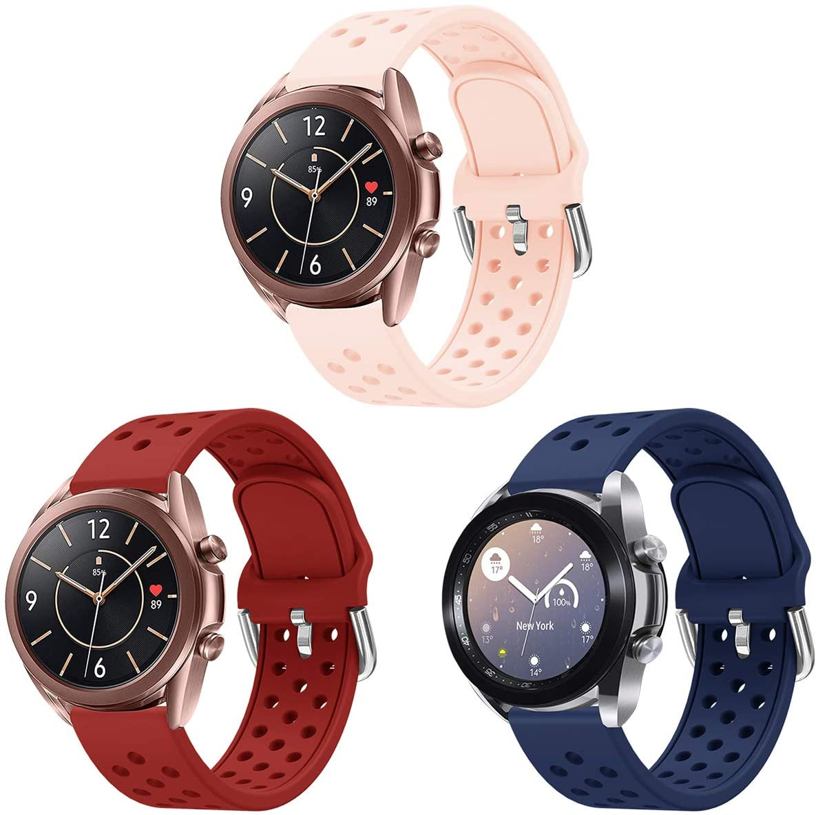 SYXINN Compatible with Samsung Galaxy Watch3 41mm Band Silicone 20mm Quick Release Watch Bands for Samsung Galaxy Watch Active 2 40mm 44mm/Galaxy Watch 42mm/Gear Sport/S2 Classic/Garmin Vivoactive 3