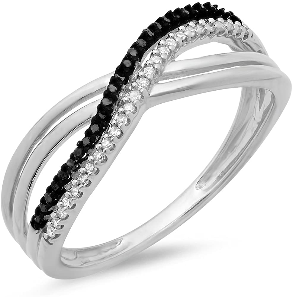 Dazzlingrock Collection 0.15 Carat (ctw) Round White & Black Diamond Ladies Swirl Wedding Anniversary Band Ring, Sterling Silver