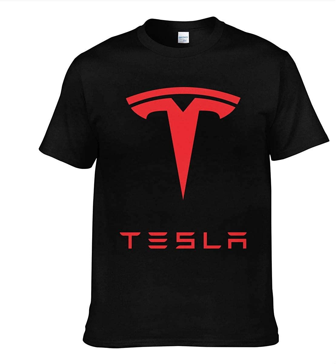 Youth Mens New Tesla Auto Logo T-Shirt Fashion Short Sleeve T-Shirts Tee Black