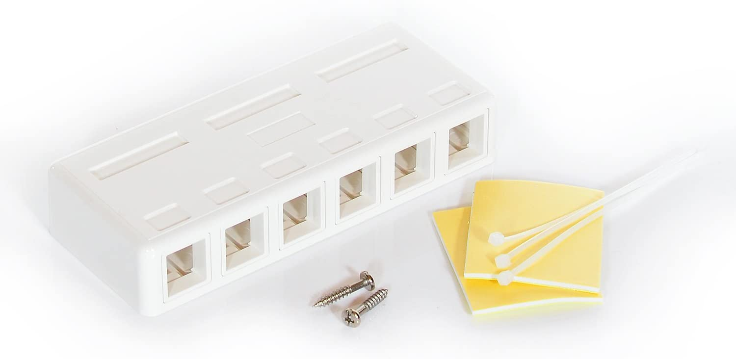 InstallerParts 6 Port RJ45 Surface Mount Box - White (Box Only) -–Mounting Pad and Screw Included