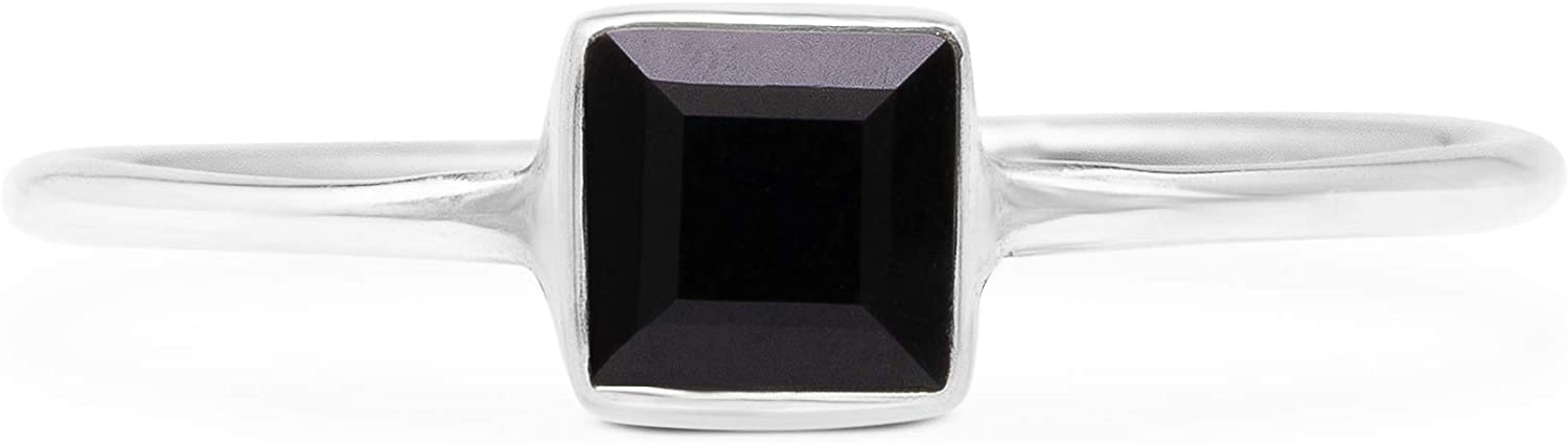 Koral Jewelry Cut Black Onyx Square Stone Delicate Ring 925 Sterling Silver Vintage Boho Chic