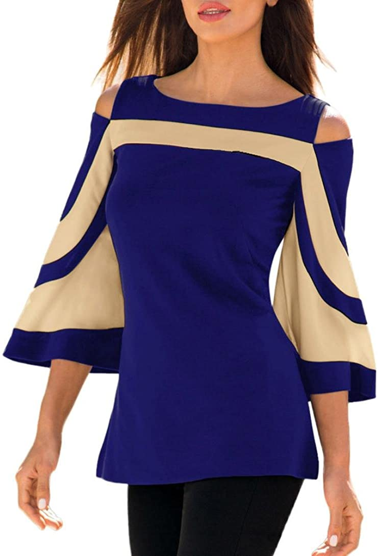 CUCUHAM Women Cold Shoulder Long Sleeve Sweatshirt Pullover Tops Blouse Shirt