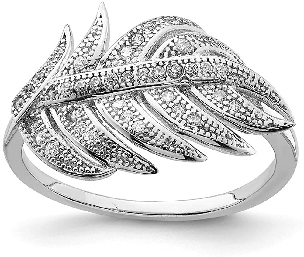925 Sterling Silver Cubic Zirconia Cz Leaf Band Ring Flowers/leaf Fine Jewelry For Women Gifts For Her