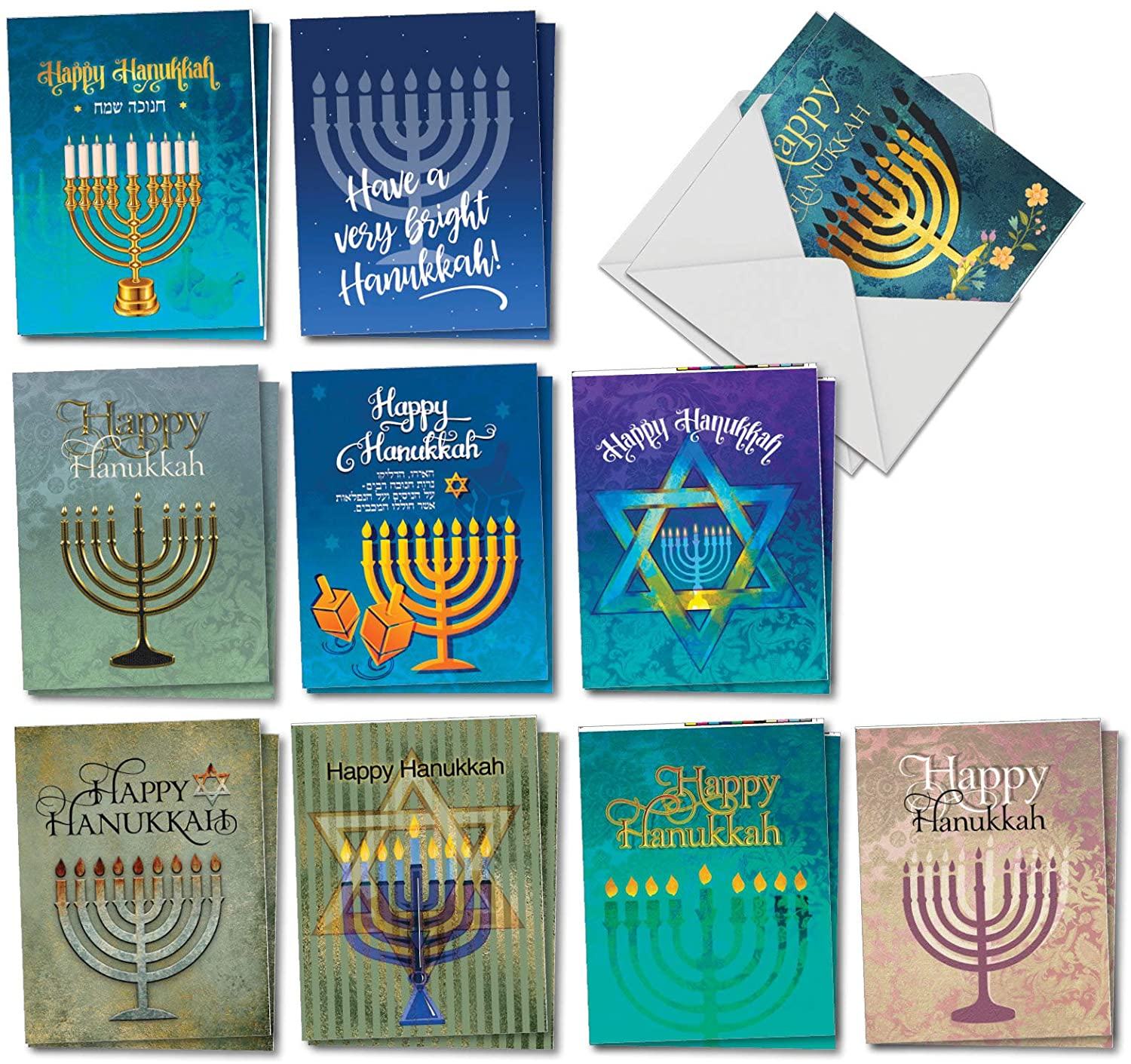 Hanukkah Lights - 20 Festive Happy Hanukkah Greeting Cards with Envelopes (4 x 5.12 Inch) - Box of Assorted Religious Jewish Holiday Note Cards (10 Designs, 2 Each) AM6140HKG-B2x10