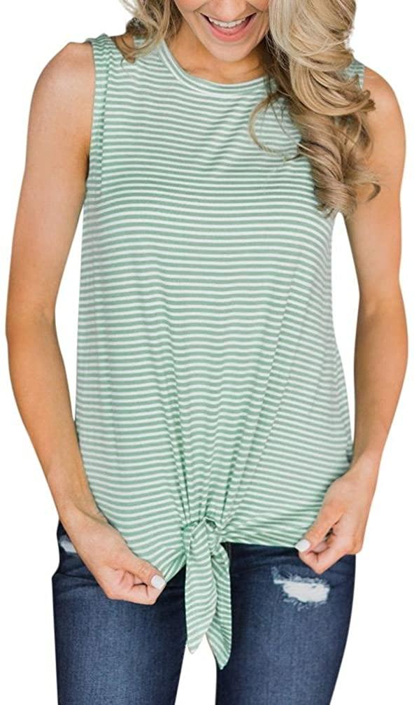 NREALY Womens Casual Stripe O Neck Sleeveless Bandage Vest Tank Top Blouse T-Shirt