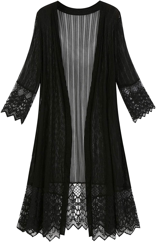chouyatou Women's Elegant 3/4 Sleeve Lace Open Front Long Sheer Shawl Kimono Cardigan
