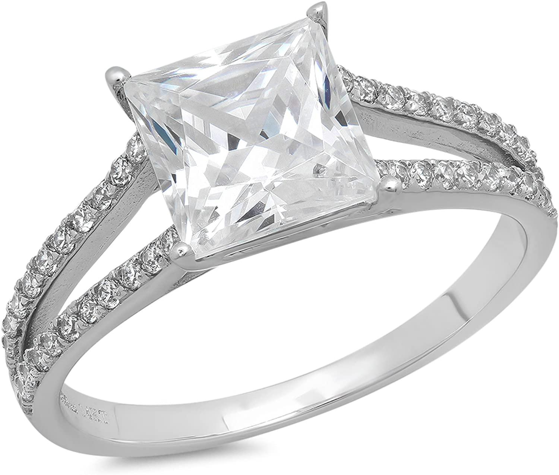 Clara Pucci 2.32 CT Princess Cut Pave Engagement Wedding Promise Bridal Ring Band 14k White Gold