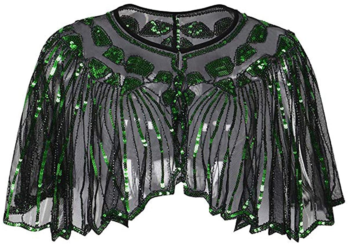 Women's 1920s Shawl Wraps Sequin Beaded Evening Cape Wedding Bridal Shawl Scarf