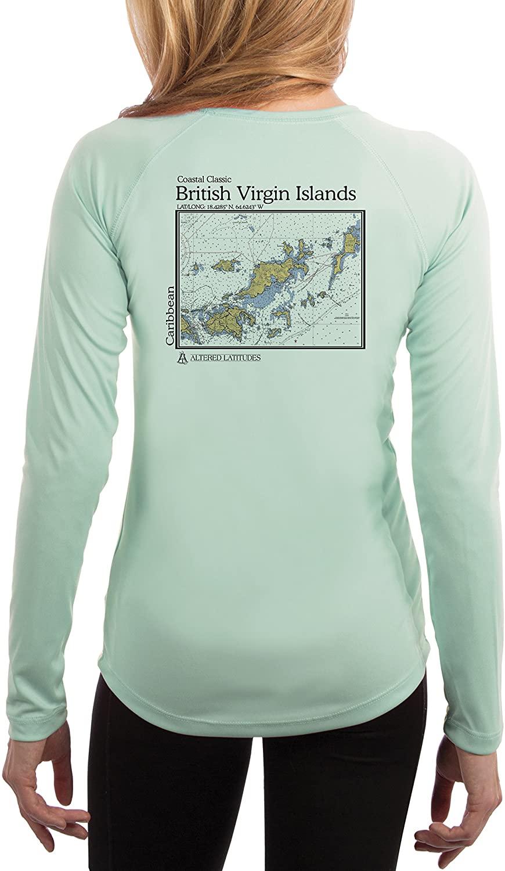 Coastal Classics British Virgin Islands Nautical Chart Women's UPF 50+ UV/Sun Protection Long Sleeve T-Shirt