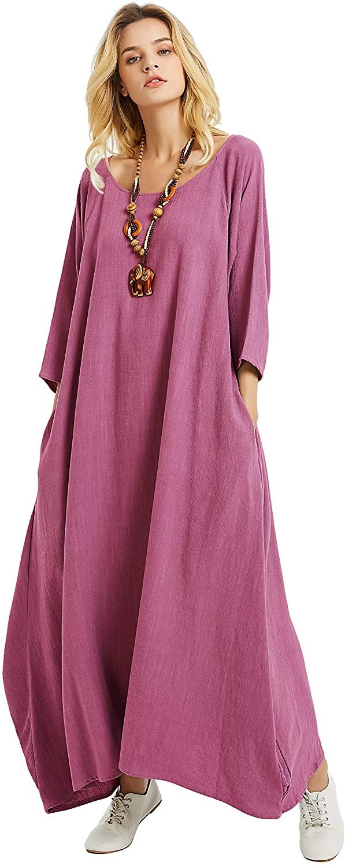 Anysize Vogue Loose Linen Cotton Dress Three Quarter Sleeve Spring Fall Plus Size Clothing F174A