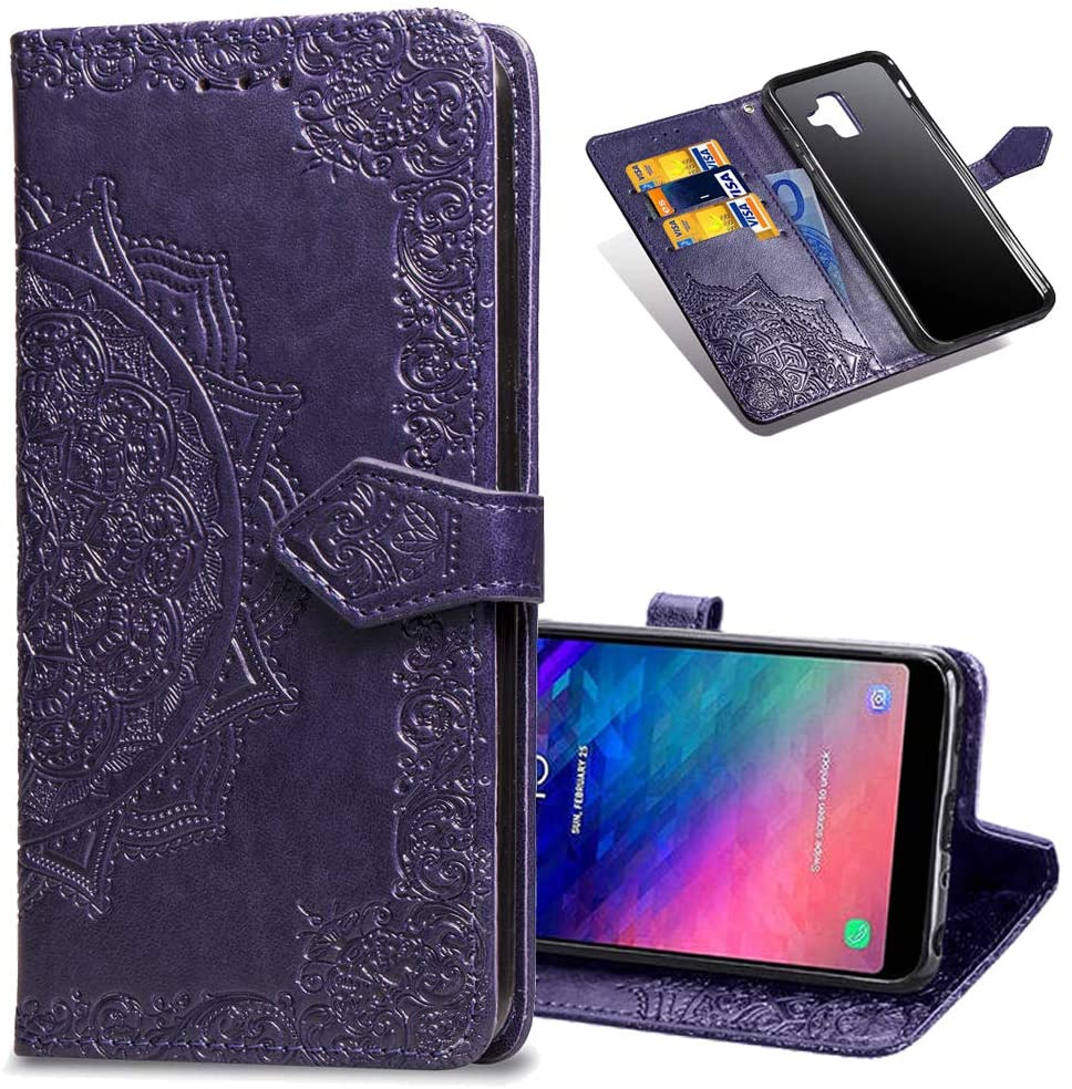 COTDINFORCA Samsung A6 2018 Wallet Case, Slim Premium PU Flip Cover Mandala Embossed Full Body Protection with Card Holder Magnetic Closure for Samsung Galaxy A6 2018 A600. SD Mandala - Purple