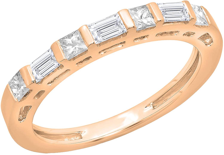 Dazzlingrock Collection 0.60 Carat (ctw) 14K Gold Princess & Baguette Diamond Ladies Anniversary Wedding Band Stackable Ring