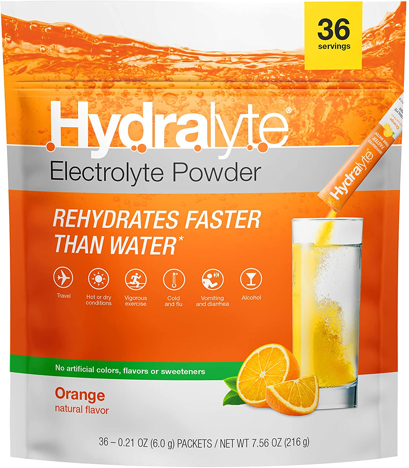 Hydralyte All-Natural Electrolyte Hydration Powder Sticks, Instant Dissolve ORS Drink Mix, Orange, 36 Count