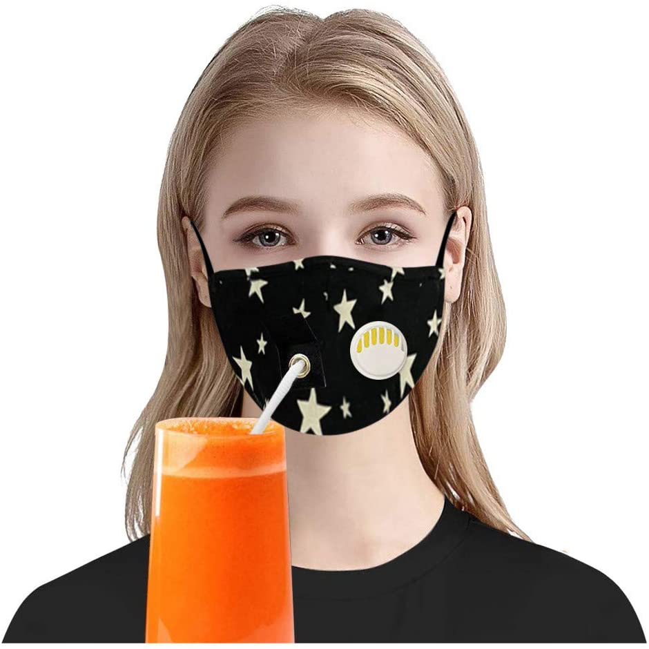 4PC Adult Cotton Face Shields,with Hole for Straw,Washable Breathable Dust-Proof Face Shields,for Indoor and Outdoor Use (Black)