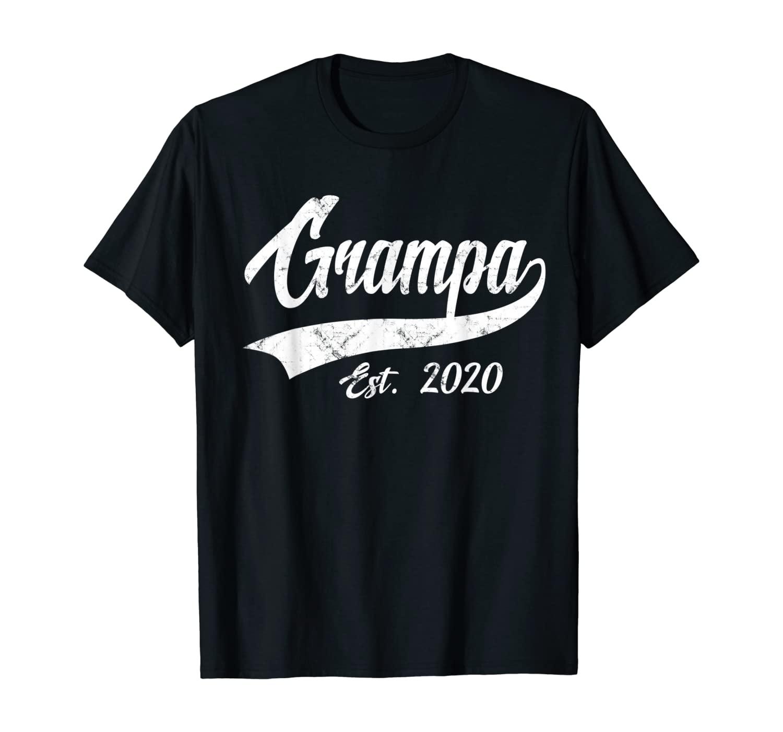 Mens Vintage Grampa Grandpa Est. 2020 New Grandfather T-Shirt
