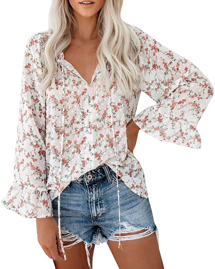 Vedolay 2020 Tops for Womens, Womens Plus Size Floral Blouses T-Shirt Long Sleeve Flowy Loose Chiffon Tee Shirts