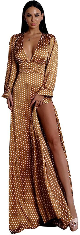 Lin Lin Q Deep V Neck Long Sleeve White Dot Split Floor-Length Elegant Female Maxi Dress