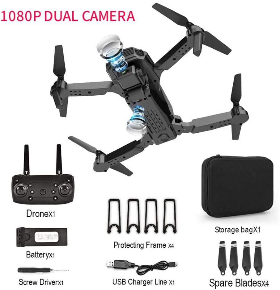 RC Drone with Dual Camera - Mini Folding Portable Drone with HD 4K Long Flight Time Photography Quadcopter for Adults Kids