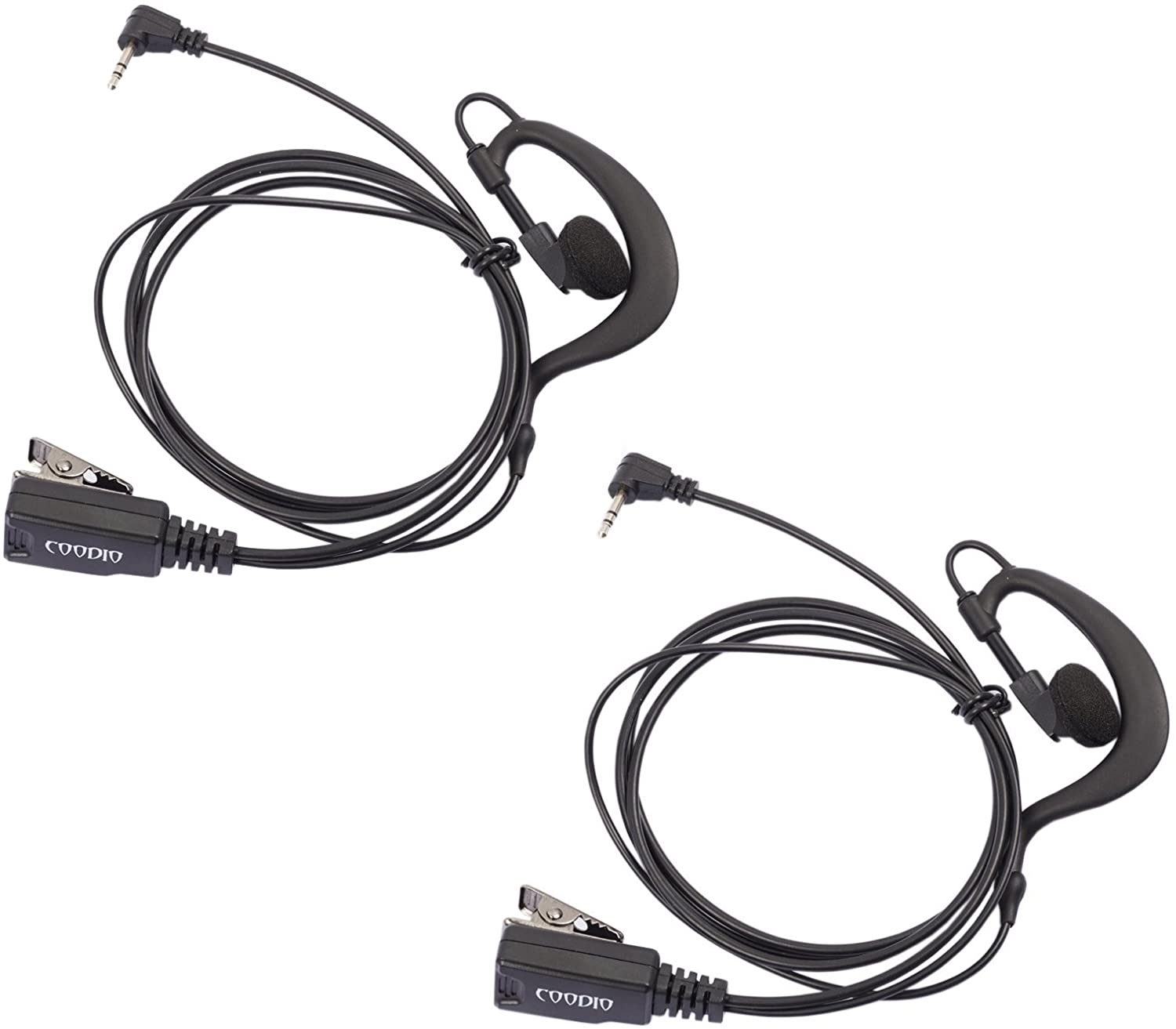 Lot 2 x Coodio G-Shape Earpiece Police Security Headset Inline PTT Mic Microphone for 1 Pin Motorola Talkabout 2 Way Radio Walkie Talkie