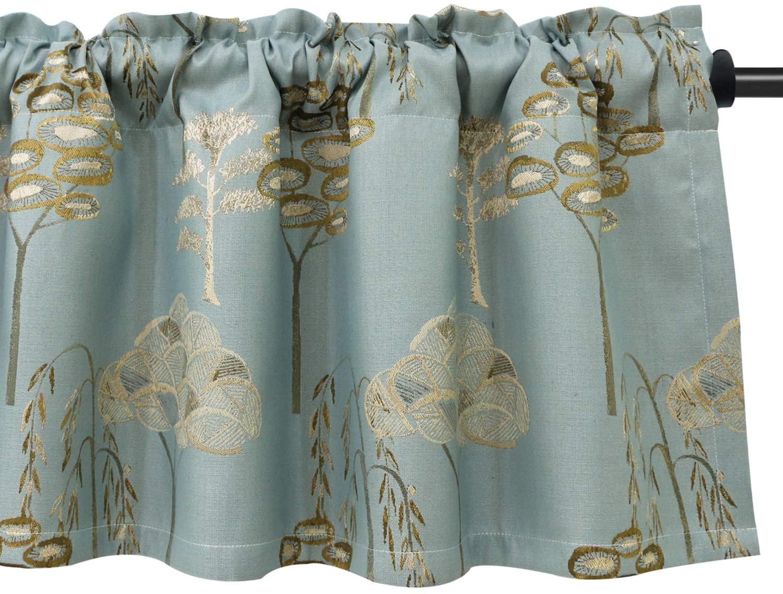 VOGOL Curtain Pine Trees Jacquard Valances Floral Pattern for Kitchen Window, Rod Pocket Elegent Wrinkle Free Valance for Guest Room, 52x18 Inch, Blue