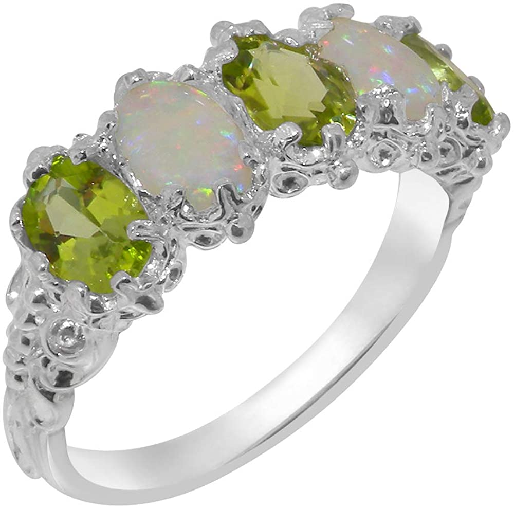 925 Sterling Silver Real Genuine Peridot and Opal Womens Eternity Ring