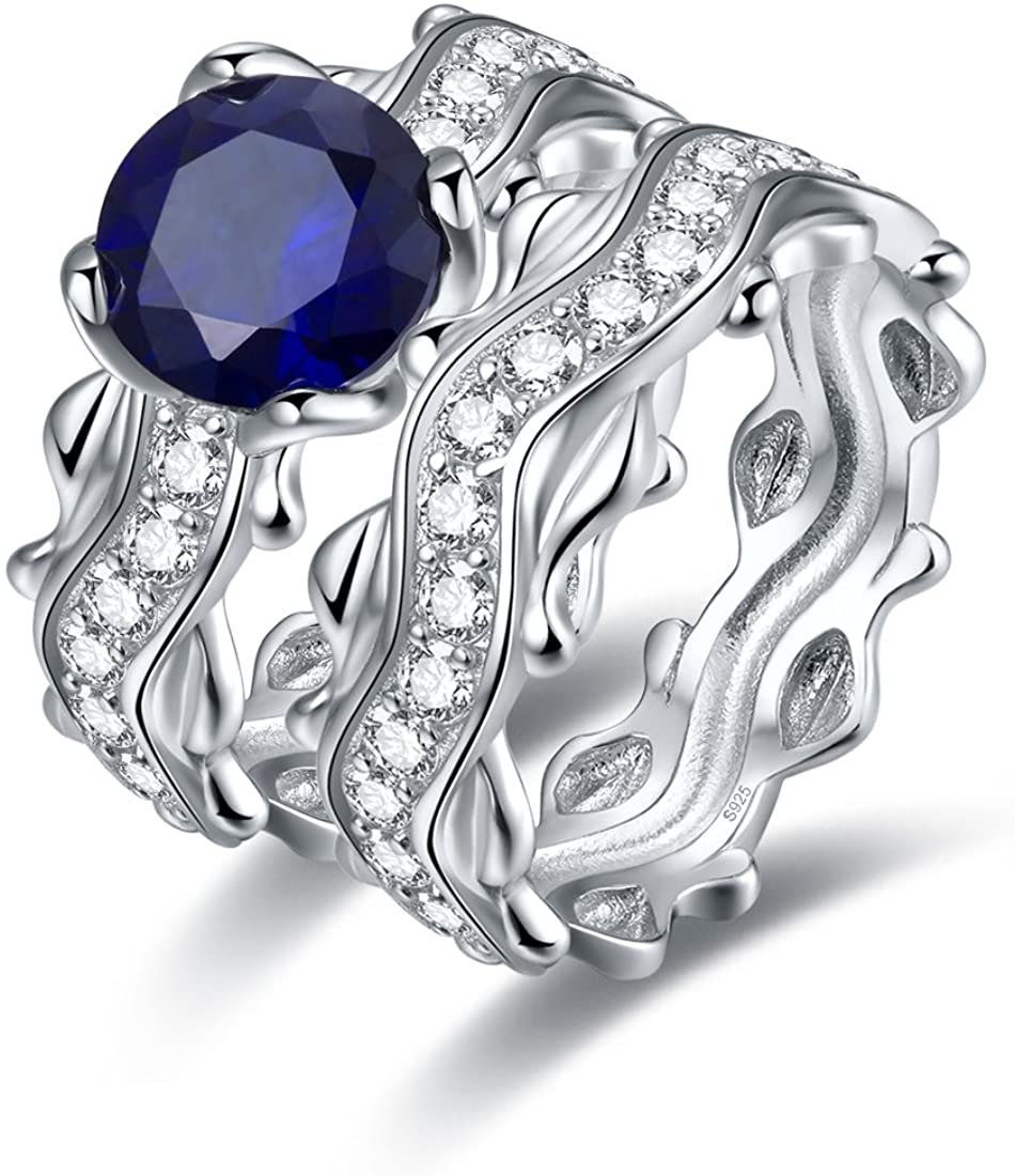 Merthus Wedding Jewelry Synthetic Blue Sapphire Vine Leaf 925 Sterling Silver Bridal Ring Sets for Women