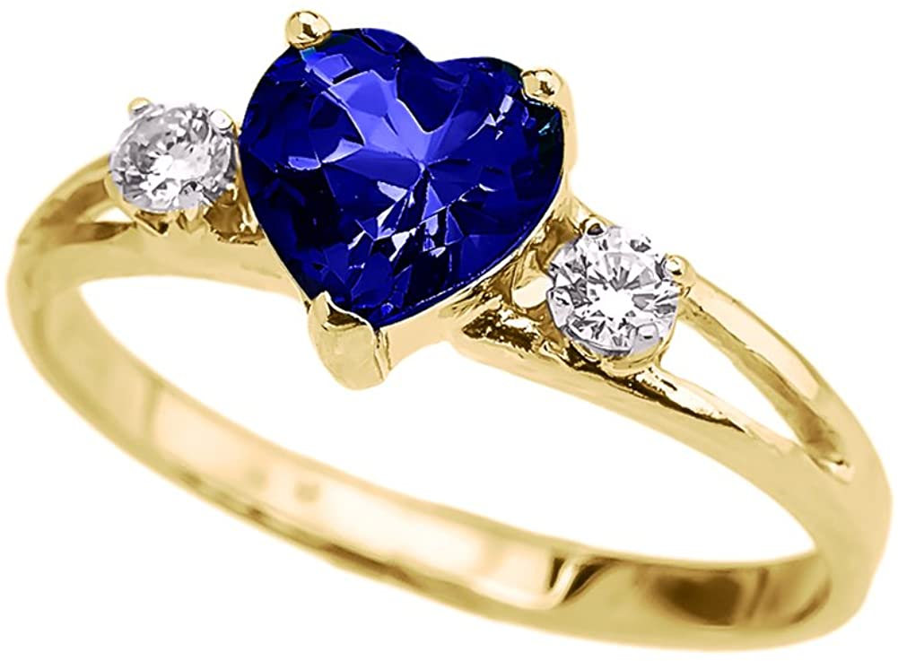 Precious 10k Yellow Gold September Birthstone Heart Proposal/Promise Ring with White Topaz