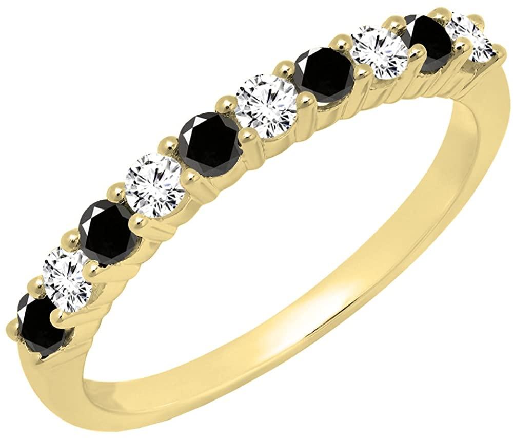 Dazzlingrock Collection 14K Round Gemstone & White Diamond Ladies Stackable Anniversary Wedding Band, Yellow Gold