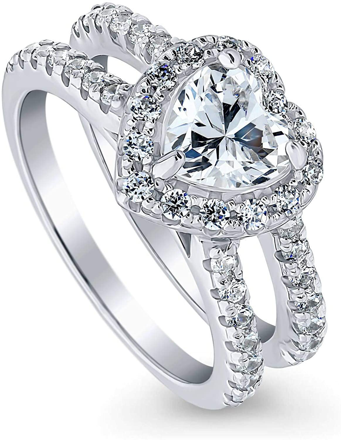 BERRICLE Rhodium Plated Sterling Silver Heart Shaped Cubic Zirconia CZ Halo Engagement Ring 1.89 CTW
