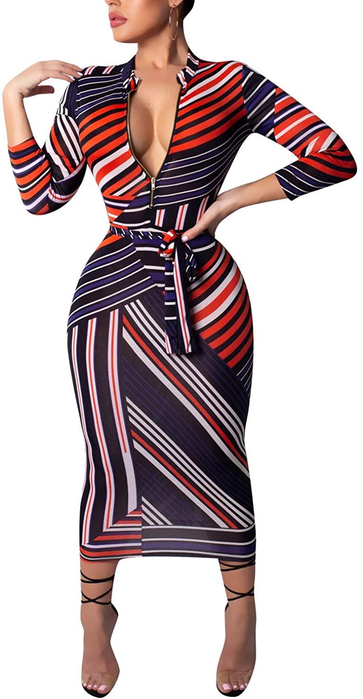 ECHOINE Women Sexy Floral Print Deep V Neck Long Sleeve Zip Bodycon Dress Club Outfits