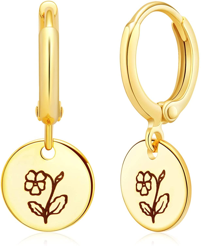 Ldurian Hoop Earrings for Women Birth Flower Coin Drop Dangle Earrings Girls Hypoallergenic Pendant Hoop Earring Birth Floral Earrings for Sensitive Ears, Gift for Birthday/Party/Christmas/Friendship